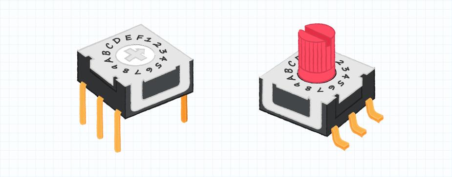 フラット型または隆起型アクチュエータ付きロータリーDIPスイッチの図